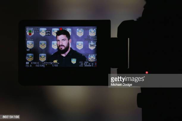 Matt Gillett speaks to media during an Australian Kangaroos Media Opportunity at Pullman on The Park on October 23 2017 in Melbourne Australia