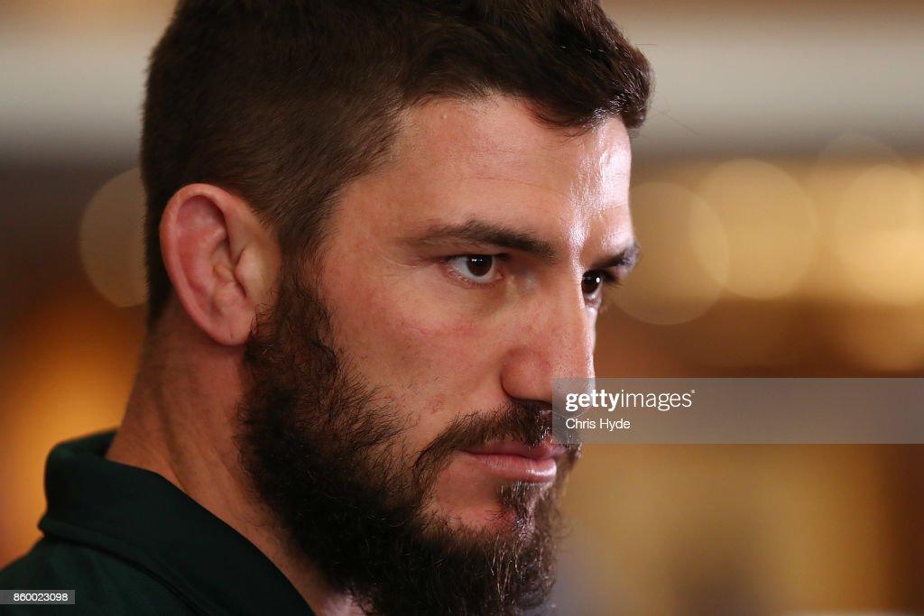 Matt Gillett speaks to media during an Australian Kangaroos Rugby League World Cup media opportunity at Suncorp Stadium on October 11, 2017 in Brisbane, Australia.