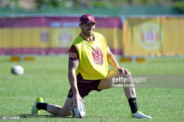 Matt Gillett warms up during a Queensland Maroons training session at Sanctuary Cove Resort on June 18 2017 at the Gold Coast Australia