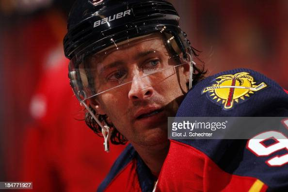 Matt Gilroy of the Florida Panthers stretches on the ice prior to the start of the game against the Los Angeles Kings at the BBT Center on October 13...