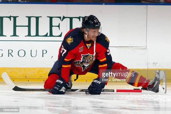 Matt Gilroy of the Florida Panthers warms up on the ice prior to the start of the game against the Minnesota Wild at the BBT Center on October 19...