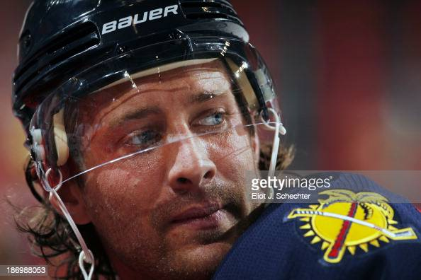Matt Gilroy of the Florida Panthers warms up on the ice prior to the start of the game against the St Louis Blues at the BBT Center on November 1...