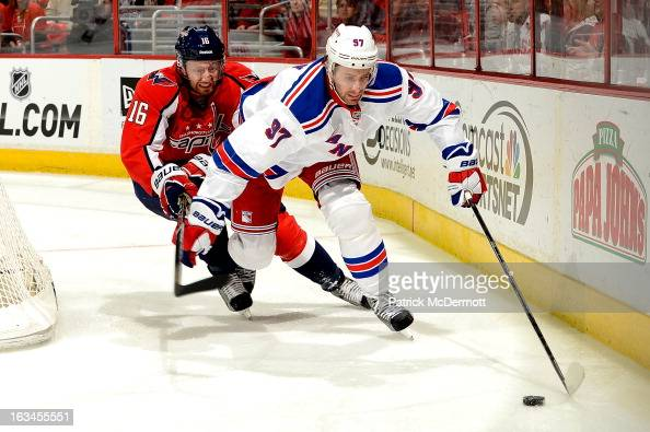 Matt Gilroy of the New York Rangers and Eric Fehr of the Washington Capitals battle behind the net durring the first period of an NHL game at Verizon...