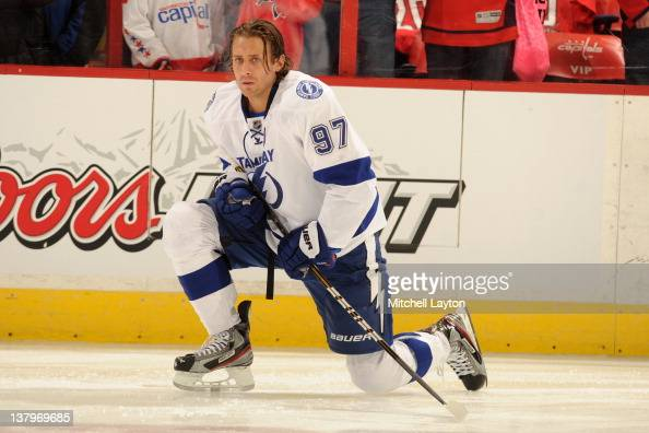 Matt Gilroy of the Tampa Bay Lightning stretches during warmups of a NHL hockey game against the Washington Capitals on January 13 2012 at the...