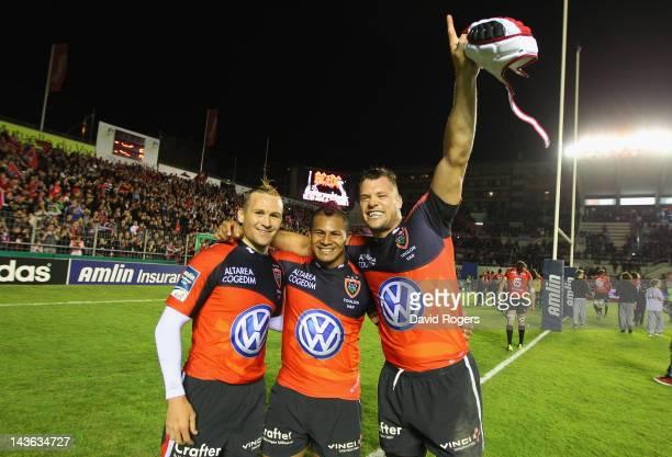 Matt Giteau David Smith and Joe van Niekerk of Toulon celebrate after their victory during the Amlin Challenge Cup semi final match between Toulon...