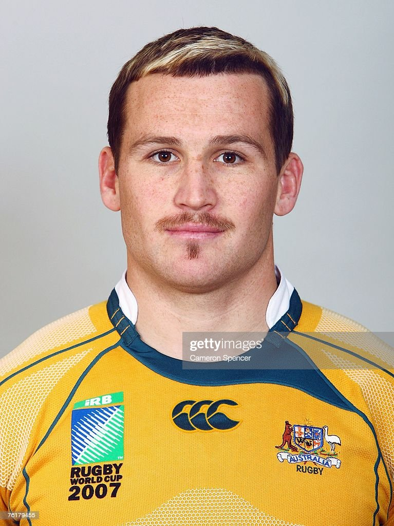 <a gi-track='captionPersonalityLinkClicked' href=/galleries/search?phrase=Matt+Giteau&family=editorial&specificpeople=206460 ng-click='$event.stopPropagation()'>Matt Giteau</a> of the Wallabies poses during the Austraian Wallabies Rugby World Cup 2007 headshots photo session at Crowne Plaza Coogee on August 20, 2007 in Sydney, Australia.