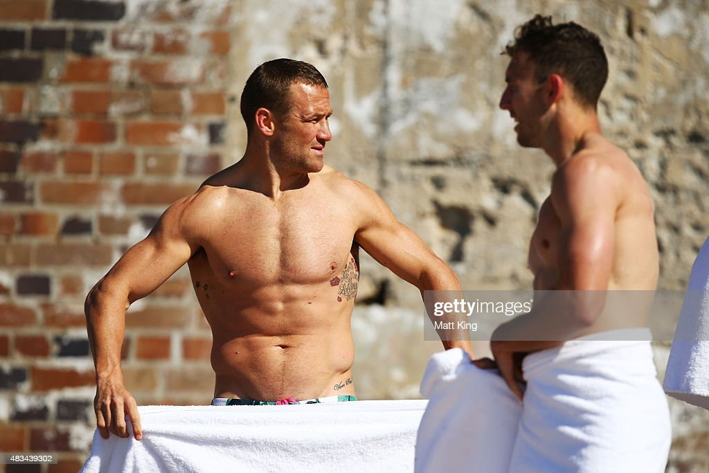 Matt Giteau of the Wallabies takes part in an Australian Wallabies recovery session at Coogee Beach on August 9, 2015 in Sydney, Australia.