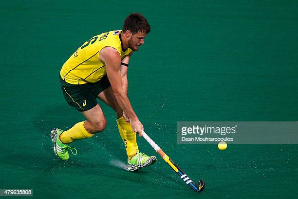 Matt Gohdes of Australia in action during the Fintro Hockey World League SemiFinal match between Australia and Great Britain held at KHC Dragons...