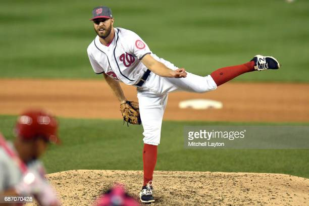 Matt Grace of the Washington Nationals pitches during game two of baseball game against the Philadelphia Phillies at Nationals Park on May 14 2017 in...