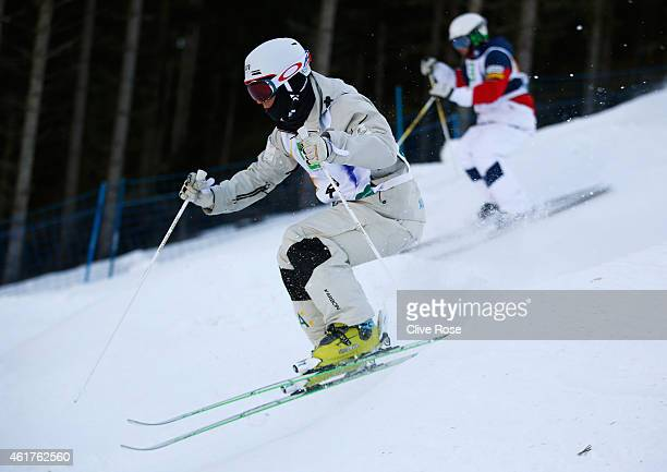 Matt Graham of Australia competes with Patrick Deneen of USA during the Men's Dual Moguls Finals of the FIS Freestyle Ski and Snowboard World...