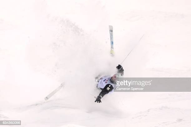 Matt Graham of Australia crashes during a men's moguls training session prior to the FIS Freestyle World Cup at Bokwang Snow Park on February 9 2017...