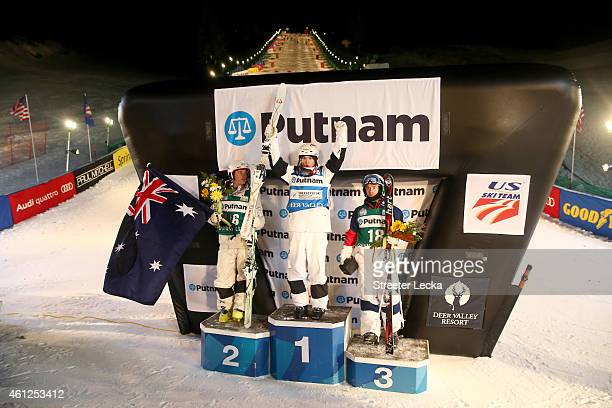 Matt Graham of Australia Mikael Kingsbury of Canada and Patrick Deneen of the USA celebrate on the podium after the men's moguls final during the...