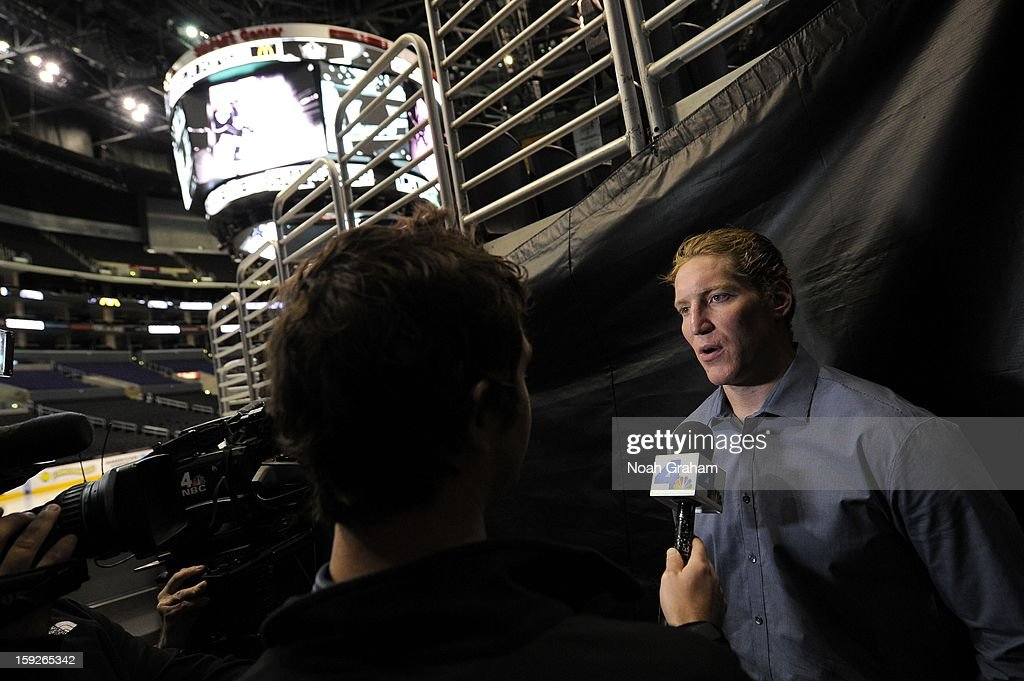 Matt Green speaks during an interview as the Los Angeles Kings kick-off the club's 2012-13 Regular Season with a press conference featuring Kings Governor Tim Leiweke, President/General Manager Dean Lombardi , President, Business Operations Luc Robitaille and Head Coach Darryl Sutter at Staples Center on January 10, 2013 in Los Angeles, California.