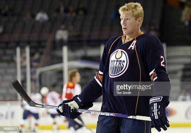 Matt Greene of the Edmonton Oilers looks on in warmups prior to the start of the NHL preseason game against the Florida Panthers on September 17 2007...