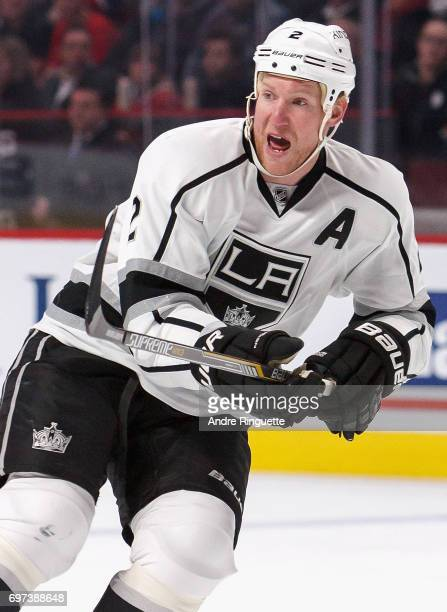 Matt Greene of the Los Angeles Kings plays in the game against the Montreal Canadiens at the Bell Centre on December 12 2014 in Montreal Quebec Canada