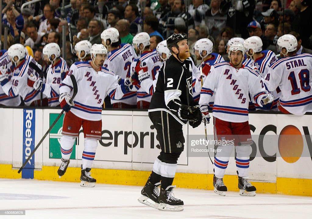 Matt Greene #2 of the Los Angeles Kings reacts after Chris Kreider #20 of the New York Rangers scored a second period goal in Game Five of the 2014 Stanley Cup Final at the Staples Center on June 13, 2014 in Los Angeles, California.