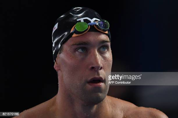 US Matt Grevers competes in the men's 100m backstroke semifinal during the swimming competition at the 2017 FINA World Championships in Budapest on...