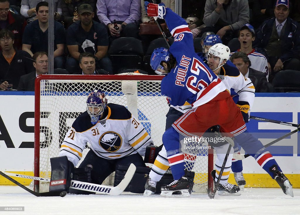 Matt Hackett #31 of the Buffalo Sabres tends net against the New York Rangers at Madison Square Garden on April 10, 2014 in New York City. The Rangers defeated the Sabres 2-1.