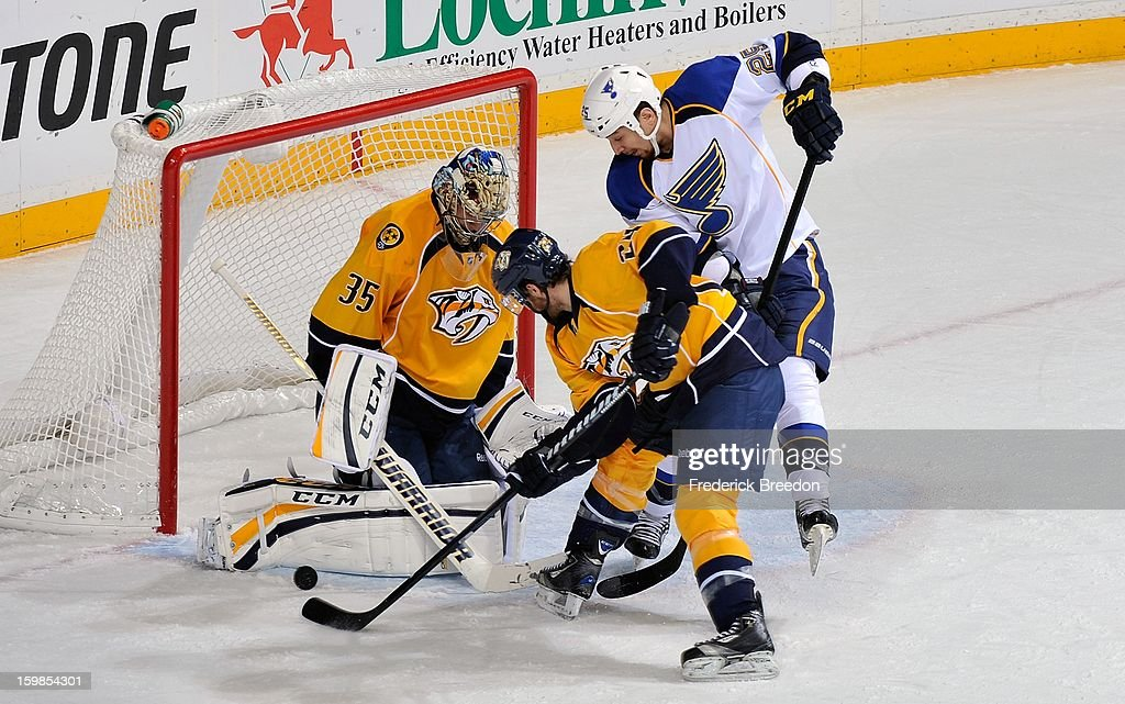<a gi-track='captionPersonalityLinkClicked' href=/galleries/search?phrase=Matt+Halischuk&family=editorial&specificpeople=714406 ng-click='$event.stopPropagation()'>Matt Halischuk</a> #24 of the Nashville Predators and Chris Stewart #25 of the St Louis Blues fight for a loose puck in front of Predators goalie <a gi-track='captionPersonalityLinkClicked' href=/galleries/search?phrase=Pekka+Rinne&family=editorial&specificpeople=2118342 ng-click='$event.stopPropagation()'>Pekka Rinne</a> #35 at the Bridgestone Arena on January 21, 2013 in Nashville, Tennessee.