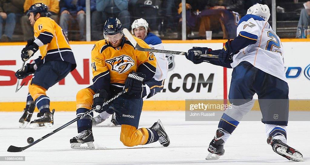 <a gi-track='captionPersonalityLinkClicked' href=/galleries/search?phrase=Matt+Halischuk&family=editorial&specificpeople=714406 ng-click='$event.stopPropagation()'>Matt Halischuk</a> #24 of the Nashville Predators blocks the shot of <a gi-track='captionPersonalityLinkClicked' href=/galleries/search?phrase=Alex+Pietrangelo&family=editorial&specificpeople=4072229 ng-click='$event.stopPropagation()'>Alex Pietrangelo</a> #27 of the St. Louis Blues during an NHL game at the Bridgestone Arena on January 21, 2013 in Nashville, Tennessee.