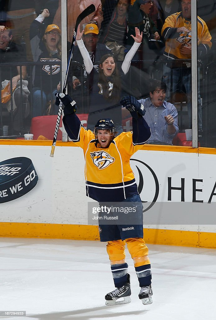 Matt Halischuk #24 of the Nashville Predators celebrates his game winning goal against the Calgary Flames during an NHL game at the Bridgestone Arena on April 23, 2013 in Nashville, Tennessee.