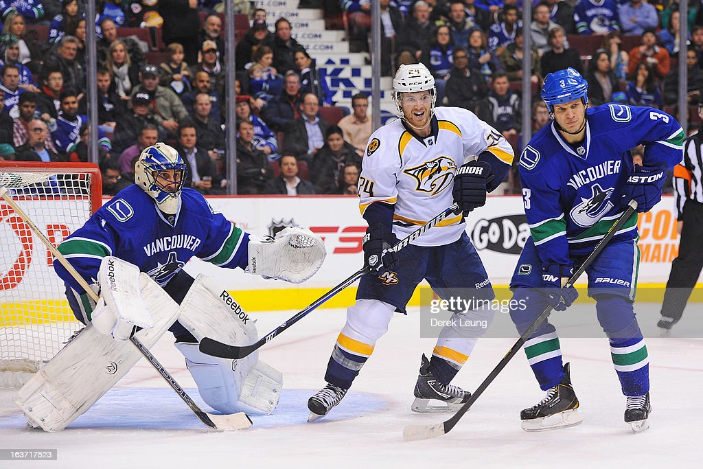 <a gi-track='captionPersonalityLinkClicked' href=/galleries/search?phrase=Matt+Halischuk&family=editorial&specificpeople=714406 ng-click='$event.stopPropagation()'>Matt Halischuk</a> #24 of the Nashville Predators looks for an opportunity to score against goalie of <a gi-track='captionPersonalityLinkClicked' href=/galleries/search?phrase=Roberto+Luongo&family=editorial&specificpeople=202638 ng-click='$event.stopPropagation()'>Roberto Luongo</a> #1 of the Vancouver Canucks during an NHL game at Rogers Arena on March 14, 2013 in Vancouver, British Columbia, Canada. The Vancouver Canucks won 7-4.