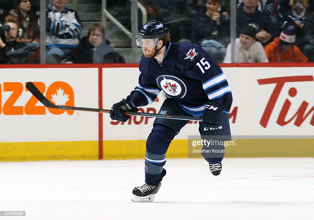 Matt Halischuk of the Winnipeg Jets follows the play down the ice during first period action against the New York Rangers at the MTS Centre on...