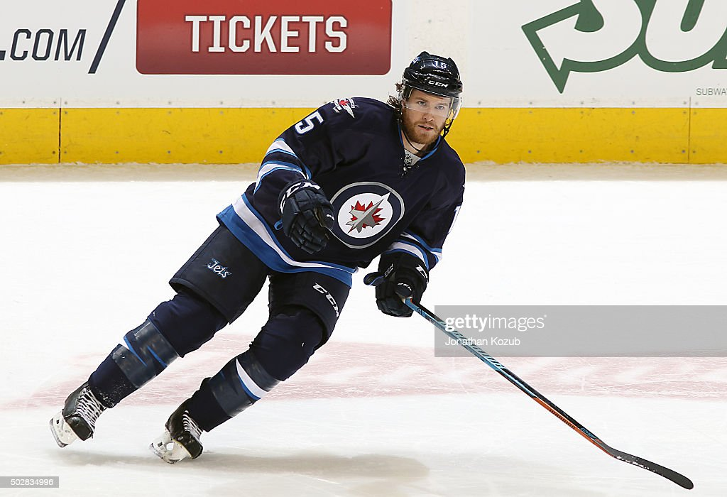 Matt Halischuk of the Winnipeg Jets follows the play down the ice during first period action against the Detroit Red Wings at the MTS Centre on...