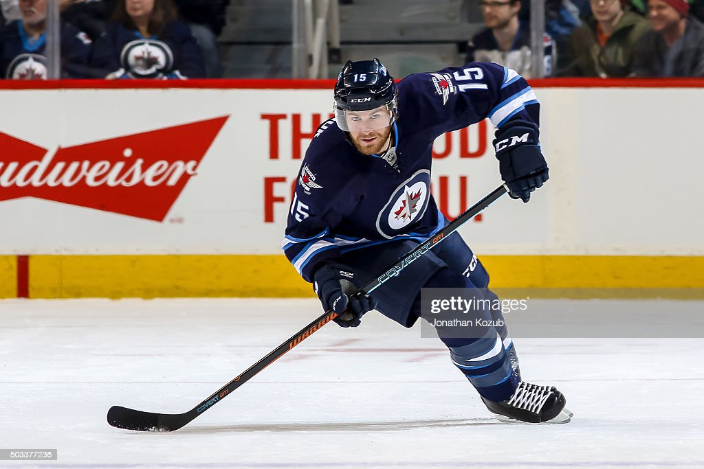 Matt Halischuk of the Winnipeg Jets follows the play up the ice during first period action against the Pittsburgh Penguins at the MTS Centre on...