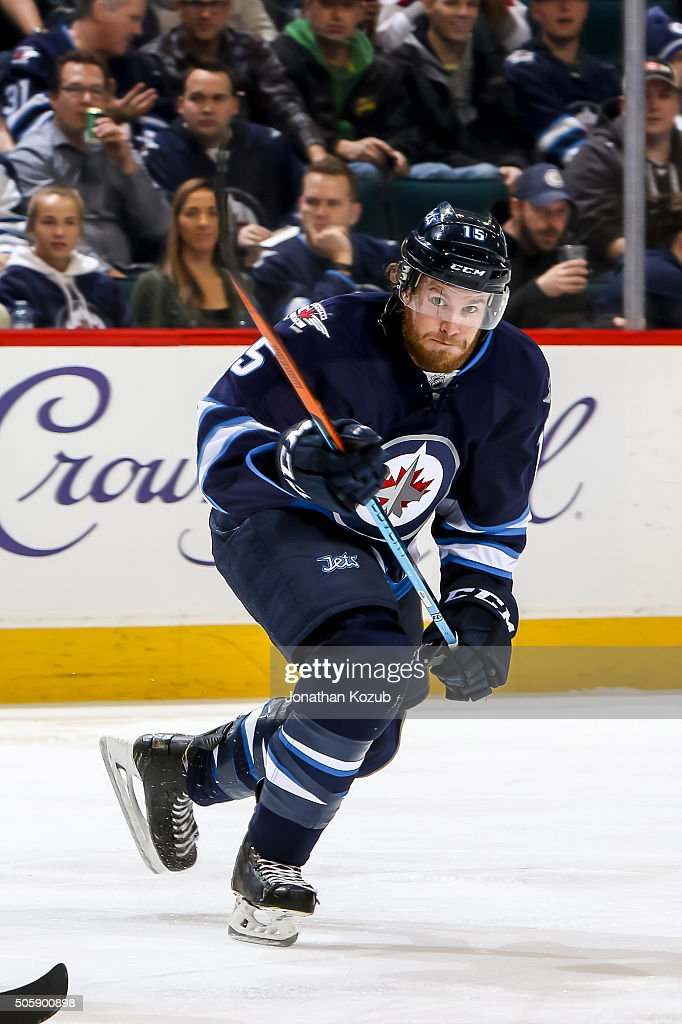 Matt Halischuk of the Winnipeg Jets follows the play up the ice during second period action against the Nashville Predators at the MTS Centre on...