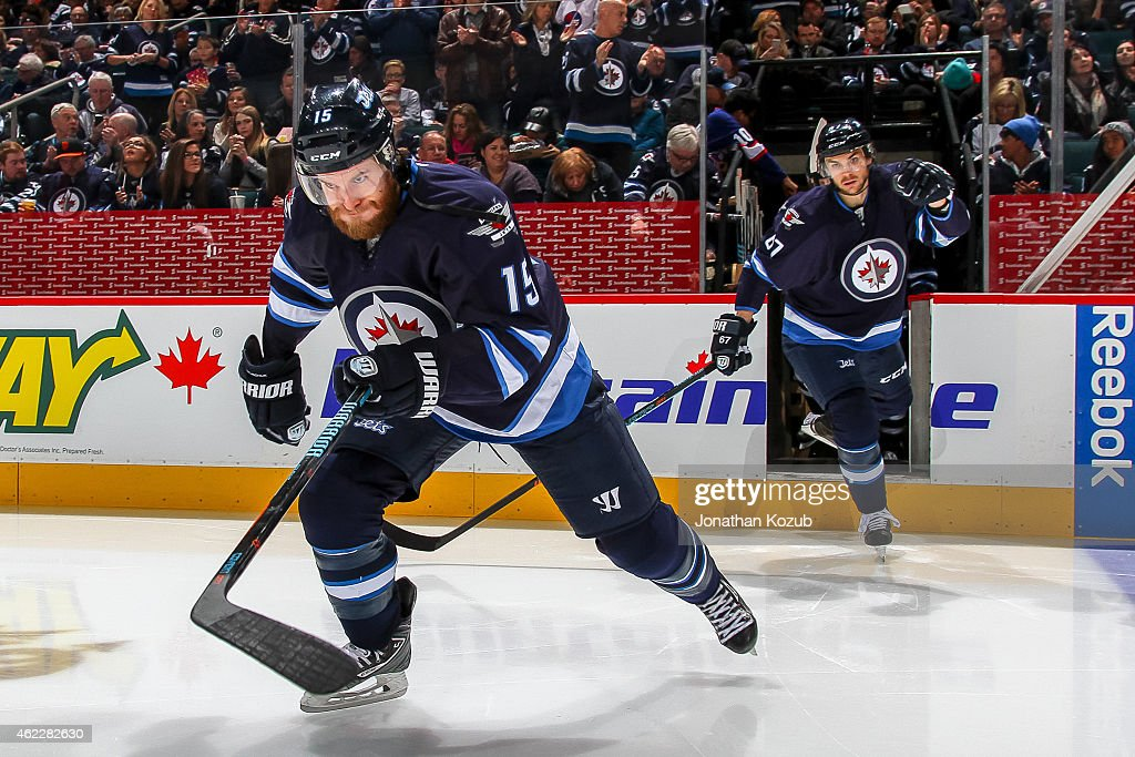 Matt Halischuk of the Winnipeg Jets hits the ice prior to puck drop against the Arizona Coyotes on January 18 2015 at the MTS Centre in Winnipeg...