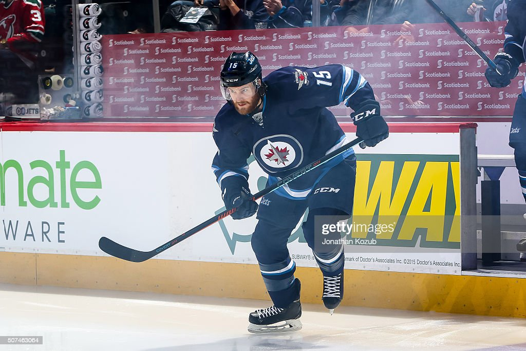 Matt Halischuk of the Winnipeg Jets hits the ice prior to puck drop against the New Jersey Devils at the MTS Centre on January 23 2016 in Winnipeg...