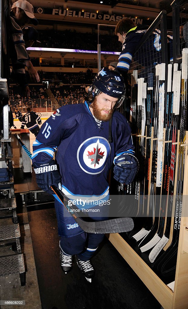 Matt Halischuk of the Winnipeg Jets leaves the ice following the pregame warm up prior to NHL action against the St Louis Blues on March 19 2015 at...