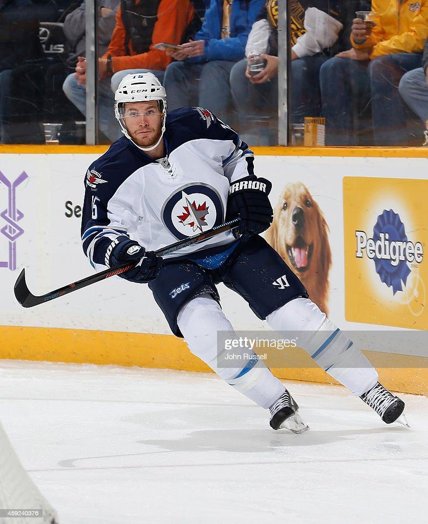 Matt Halischuk of the Winnipeg Jets skates against the Nashville Predators at Bridgestone Arena on November 15 2014 in Nashville Tennessee