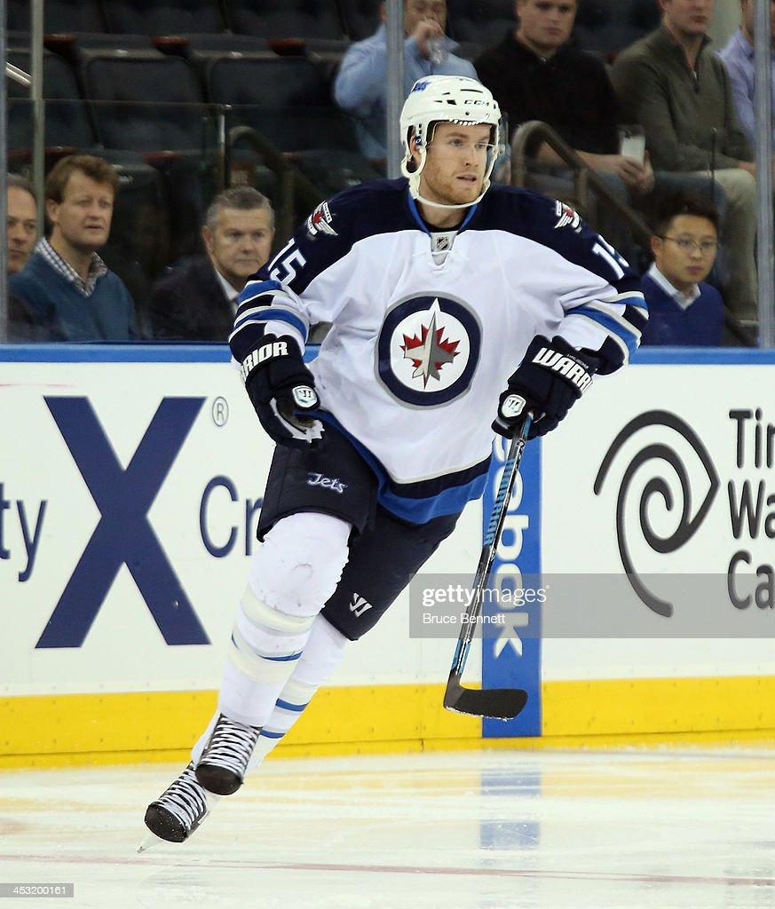 Matt Halischuk of the Winnipeg Jets skates against the New York Rangers at Madison Square Garden on December 2 2013 in New York City The Jets...