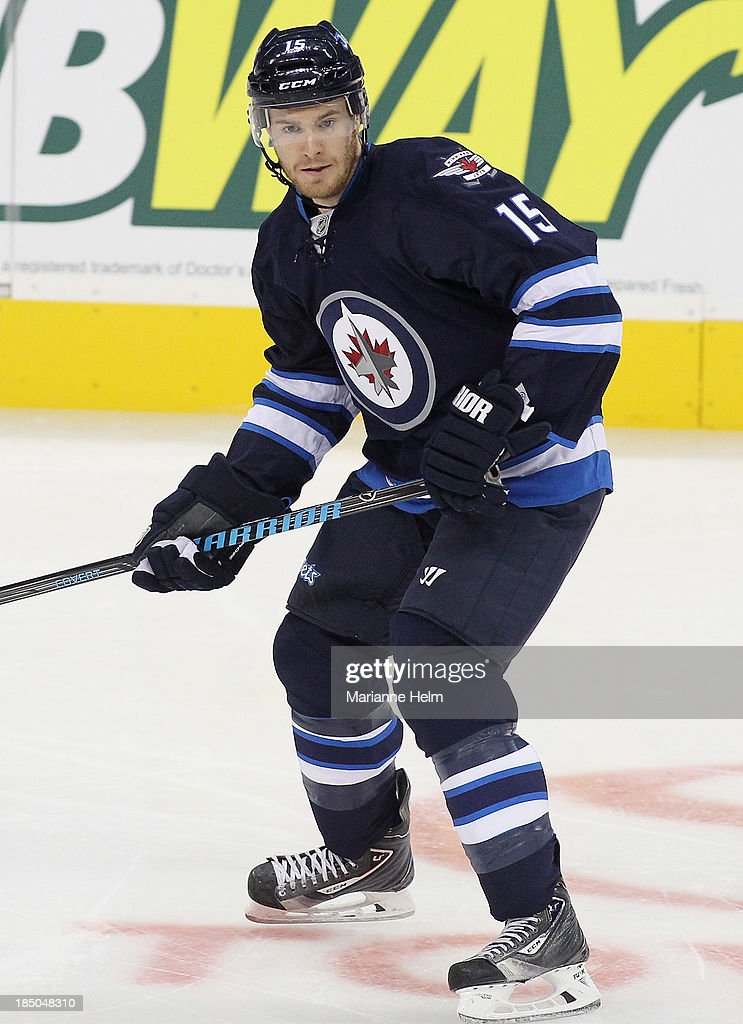 Matt Halischuk of the Winnipeg Jets skates down the ice in first period action in an NHL game against the Dallas Stars at the MTS Centre on October...