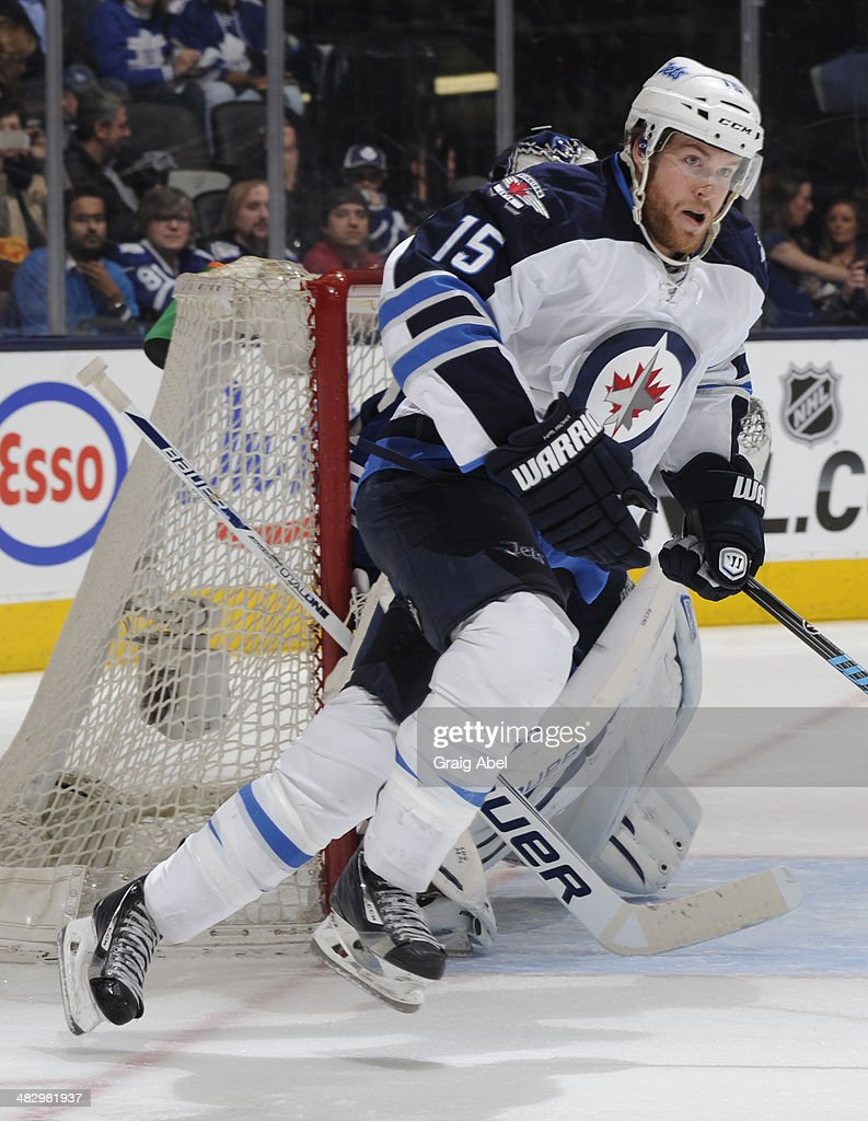 <a gi-track='captionPersonalityLinkClicked' href=/galleries/search?phrase=Matt+Halischuk&family=editorial&specificpeople=714406 ng-click='$event.stopPropagation()'>Matt Halischuk</a> #15 of the Winnipeg Jets skates during NHL game action against the Toronto Maple Leafs April 5, 2014 at the Air Canada Centre in Toronto, Ontario, Canada.
