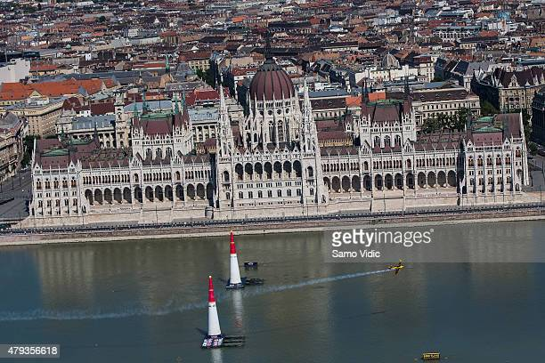 Matt Hall of Australia performs during the training of the fourth stage of the Red Bull Air Race World Championship on July 3 2015 in Budapest Hungary
