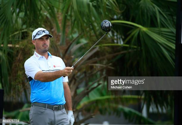 Matt Harmon hits his drive during the third round of the Webcom Tour Championship held at Atlantic Beach Country Club on September 30 2017 in...