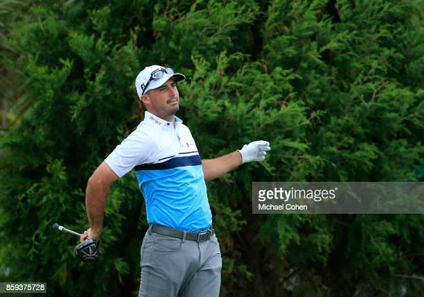Matt Harmon reacts to his drive during the third round of the Webcom Tour Championship held at Atlantic Beach Country Club on September 30 2017 in...
