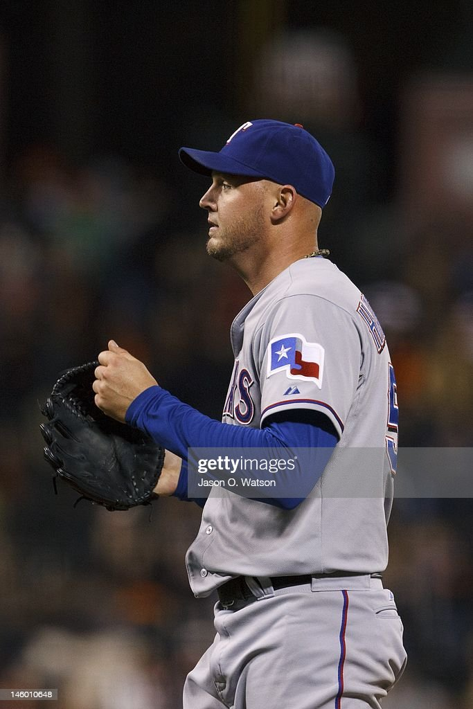 <a gi-track='captionPersonalityLinkClicked' href=/galleries/search?phrase=Matt+Harrison&family=editorial&specificpeople=4171692 ng-click='$event.stopPropagation()'>Matt Harrison</a> #54 of the Texas Rangers celebrates after pitching a complete game shutout against the San Francisco Giants in an interleague game at AT&T Park on June 8, 2012 in San Francisco, California. The Texas Rangers defeated the San Francisco Giants 5-0.