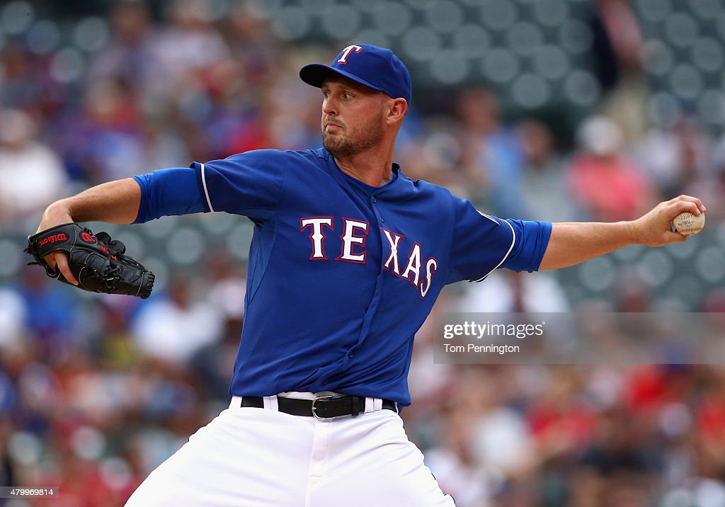<a gi-track='captionPersonalityLinkClicked' href=/galleries/search?phrase=Matt+Harrison&family=editorial&specificpeople=4171692 ng-click='$event.stopPropagation()'>Matt Harrison</a> #54 of the Texas Rangers pitches against the Arizona Diamondbacks in the top of the first inning at Globe Life Park in Arlington on July 8, 2015 in Arlington, Texas.