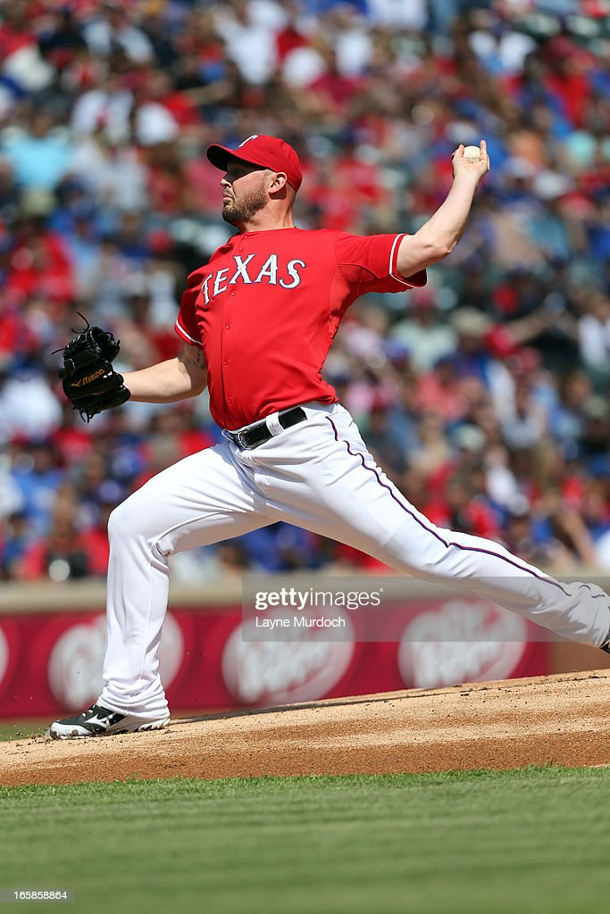 <a gi-track='captionPersonalityLinkClicked' href=/galleries/search?phrase=Matt+Harrison&family=editorial&specificpeople=4171692 ng-click='$event.stopPropagation()'>Matt Harrison</a> #54 of the Texas Rangers pitches against the Los Angeles Angels of Anaheim of Anaheim on April 6, 2013 at the Rangers Ballpark in Arlington in Arlington, Texas.