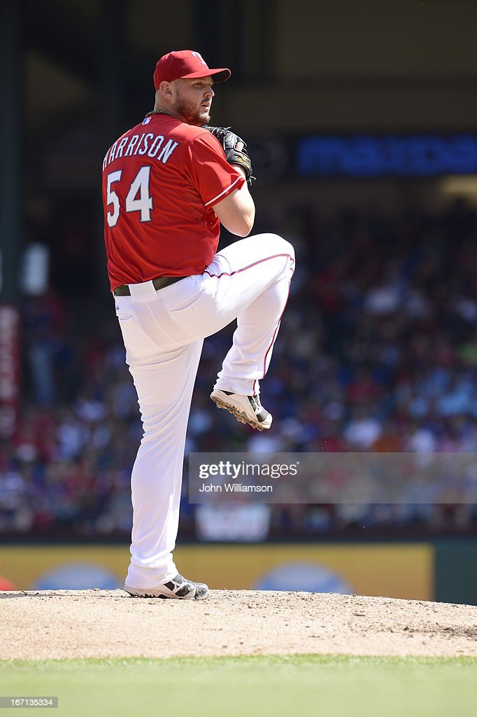 <a gi-track='captionPersonalityLinkClicked' href=/galleries/search?phrase=Matt+Harrison&family=editorial&specificpeople=4171692 ng-click='$event.stopPropagation()'>Matt Harrison</a> #54 of the Texas Rangers pitches against the Los Angeles Angels at Rangers Ballpark on April 6, 2013 in Arlington, Texas. The Los Angeles Angels defeated the Texas Rangers 8-4.