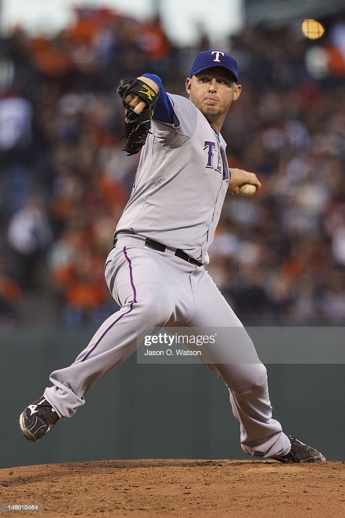 <a gi-track='captionPersonalityLinkClicked' href=/galleries/search?phrase=Matt+Harrison&family=editorial&specificpeople=4171692 ng-click='$event.stopPropagation()'>Matt Harrison</a> #54 of the Texas Rangers pitches against the San Francisco Giants during the fourth inning of an interleague game at AT&T Park on June 8, 2012 in San Francisco, California.