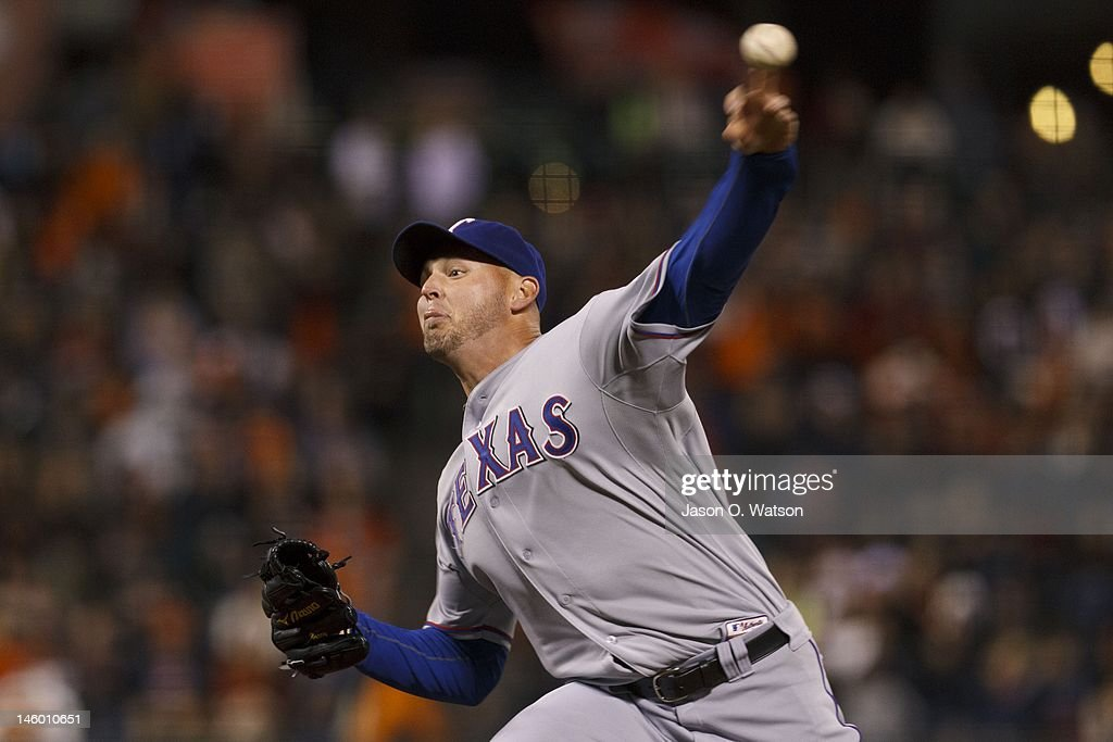 <a gi-track='captionPersonalityLinkClicked' href=/galleries/search?phrase=Matt+Harrison&family=editorial&specificpeople=4171692 ng-click='$event.stopPropagation()'>Matt Harrison</a> #54 of the Texas Rangers pitches against the San Francisco Giants during the ninth inning of an interleague game at AT&T Park on June 8, 2012 in San Francisco, California. The Texas Rangers defeated the San Francisco Giants 5-0.