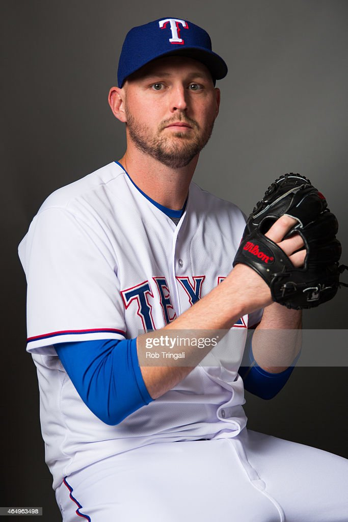 Matt Harrison #54 of the Texas Rangers poses for a portrait during photo day at Surprise Stadium on March 2, 2015 in Surprise, Arizona.