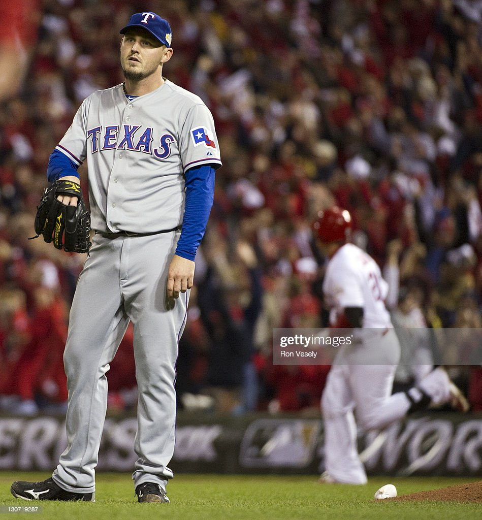 <a gi-track='captionPersonalityLinkClicked' href=/galleries/search?phrase=Matt+Harrison&family=editorial&specificpeople=4171692 ng-click='$event.stopPropagation()'>Matt Harrison</a> of the Texas Rangers reacts as Allen Craig of the St. Louis Cardinals runs the bases after hitting a solo homerun to give the Cardinals a 3-2 lead during Game Seven of the 2011 World Series between the Texas Rangers and the St. Louis Cardinals at Busch Stadium on Friday, October 28, 2011 in St. Louis, Missouri.
