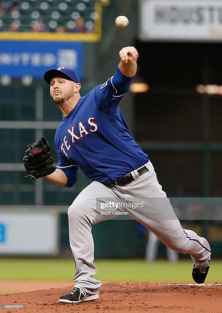 <a gi-track='captionPersonalityLinkClicked' href=/galleries/search?phrase=Matt+Harrison&family=editorial&specificpeople=4171692 ng-click='$event.stopPropagation()'>Matt Harrison</a> #54 of the Texas Rangers throws a pitch in the first inning of their game against the Houston Astros at Minute Maid Park on May 13, 2014 in Houston, Texas.