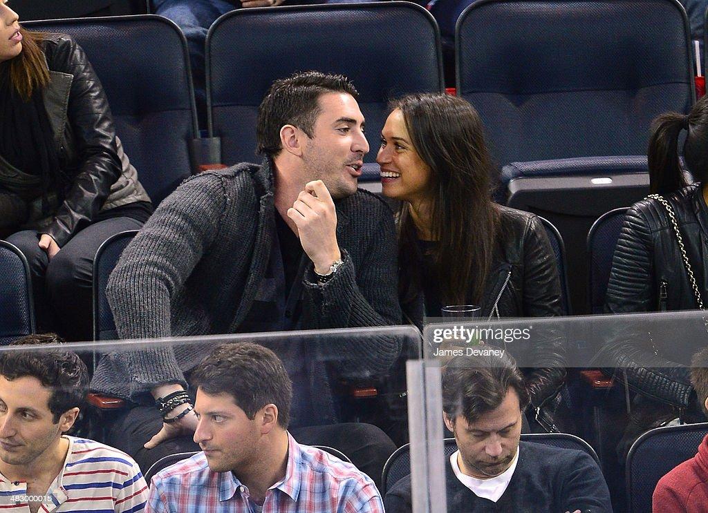 Matt Harvey and Asha Leo attend Ottawa Senators vs New York Rangers game at Madison Square Garden on April 5, 2014 in New York City.